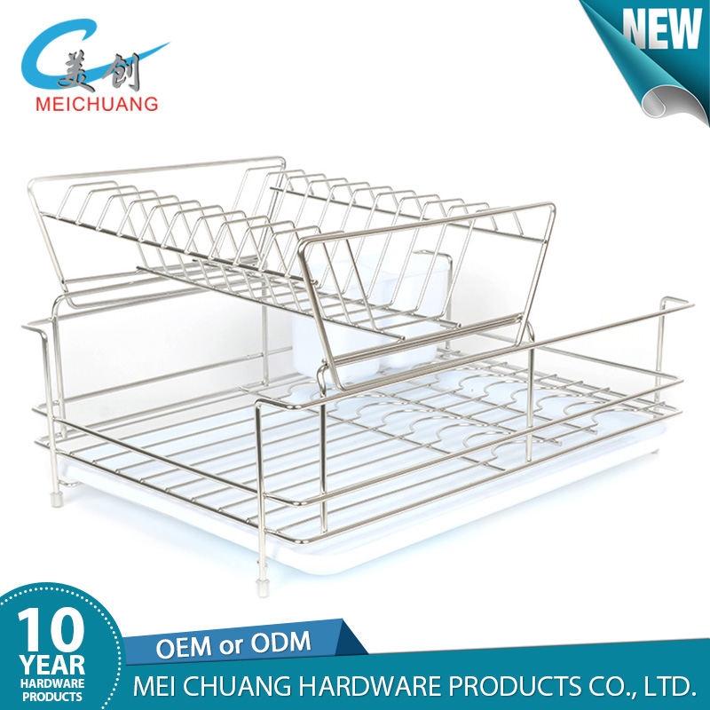Stainless steel 2 tier compact dish drainer rack