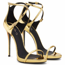 ladies sandals photo Shoe Evening High Heels Golden Patent Leather Sandals Open Toe Thin Heel Sexy Party Shoes New 2017 Handmade