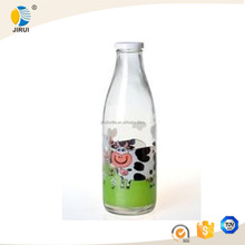beverages industry use 1000ml juice bottle 1liter glass milk bottle with metal lid