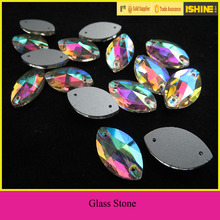 Wholesale Horse Eye Flatback Glass Stones Sew on Clothes with Holes