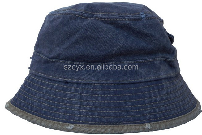 2014 newest fashion Pocket Bucket Hat 100% Denim Jeans fabric with pocket design