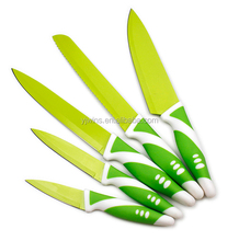 Durable Green Handle 5pcs Non-stick Coating Kitchen Knife Set