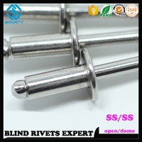 DOME HEAD OPEN END HOT SELLING ISO 15983 316 SS BLIND RIVETS FOR USA MARKET