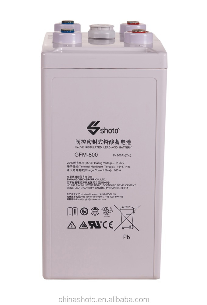 Shoto GFM-800 Series Lead-acid AGM Battery for Telecom, Energy Storage and UPS