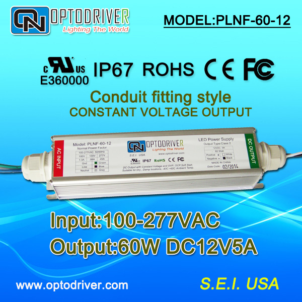 UL listed 60W led driver DC12V5A conduit fitting style