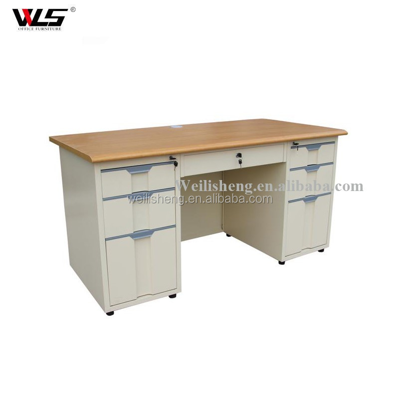 Luoyang WLS High Quality Classic Office Furniture Mdf Desktop Steel Office Desk Metal Frame Office Table