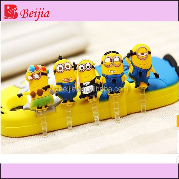 Minions toys cartoon characters soft pvc ear cap/dust plug for mobile phone