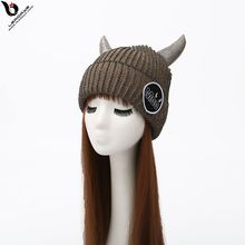 Horned Wool Adult Knitted Funny Hats Made In China