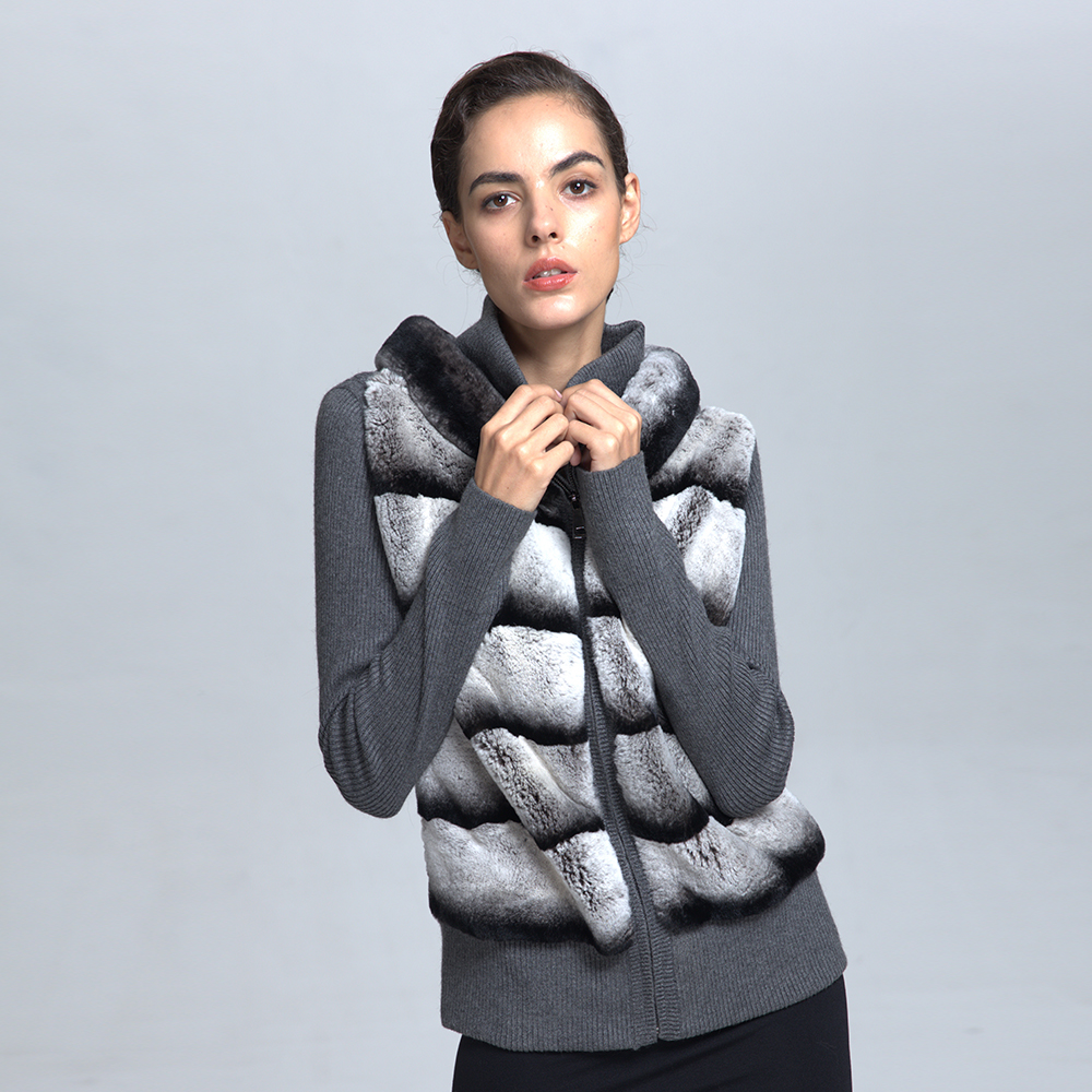 Factory Wholesale Dyed Rex Rabbit Fur Skins Jacket Women