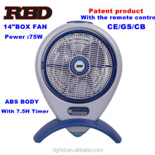 Home Appliance Air Cooler Box Fan14inch Portable Electric Box Fan ABS Body with Remote and 7.5h timer Approved CE GS CB
