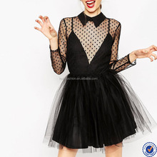 latest net dress designs sexy women net dresses mini skater dress with long transparent sleeve