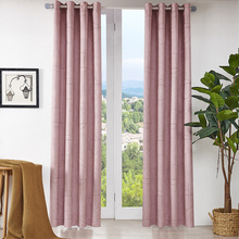 Modern Design Blackout Embroidered Soft Suede Curtains Grommets Pink Drapes for Living Room /Bedroom