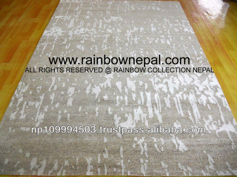 Nepal Hand Knotted Allo, Wool, Bamboo Silk Carpet Rug