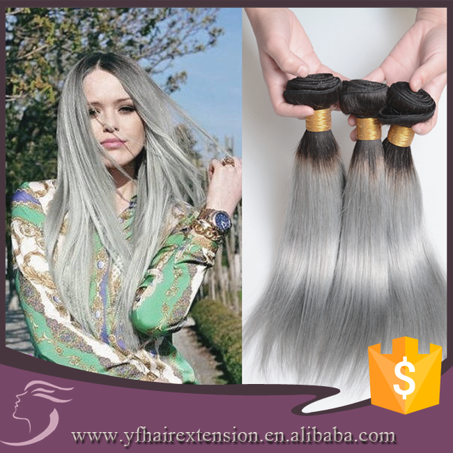 Top Quality Cheap #1b Grey Ombre Straight Remy Natural Peruvian Virgin Hair Bundles in China