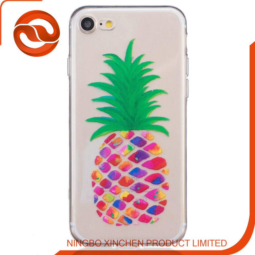 custom soft case for iphone 7plus cellphone case with pineapple logo
