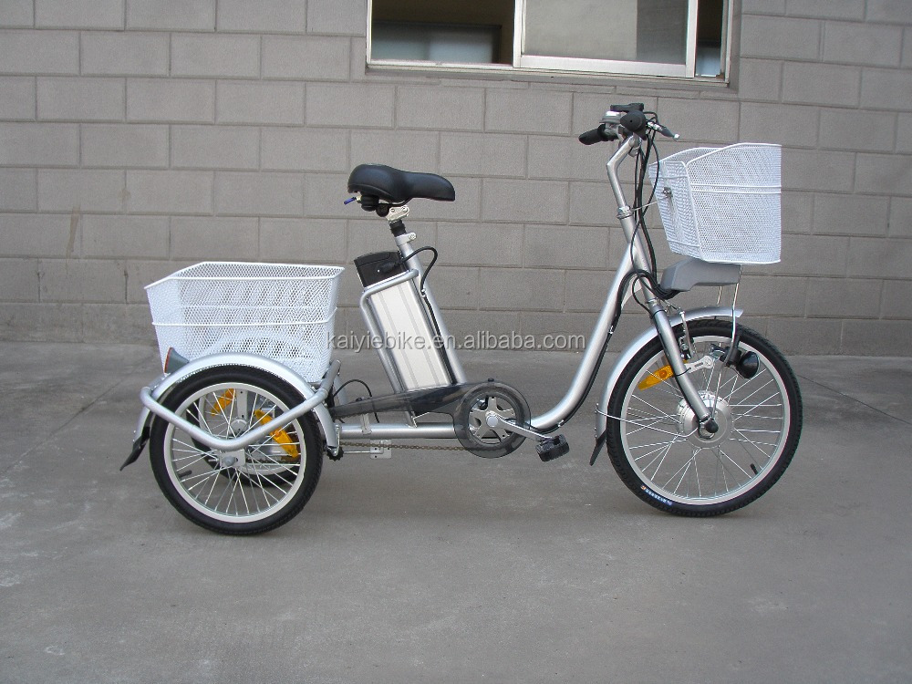 Three wheels adults electric bike with 20' tire / En15194 approved three wheels electric bicycle / electric cargo tricycle