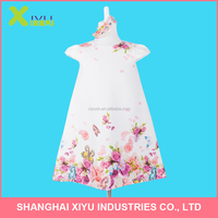 fashion children girls princess dress with jacquard flower digital printed short sleeve girls dress