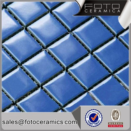 Blue glazed ceramic swimming pool tile mosaic