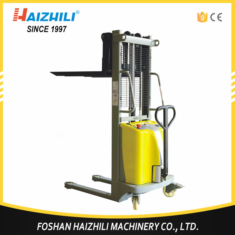 Mini 1500kg 1600mm hydraulic low price semi electric stacker for warehouse