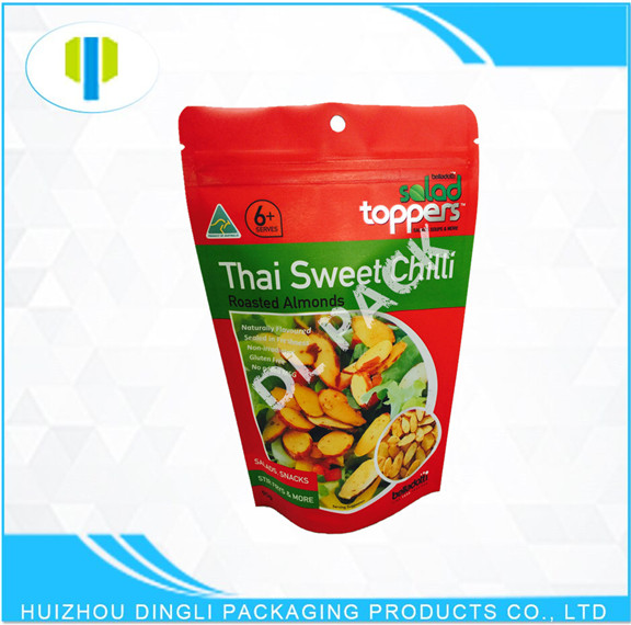 OEM matte laminated material food onions zipper laminated stand up foil bag