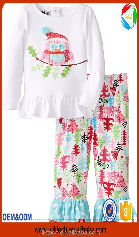 Wholesale hot design kid boutique clothes ruffle sets smocked children clothing