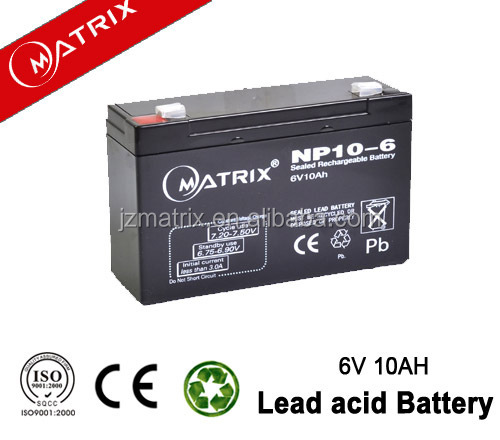 Large Stock 6v 10ah sealed lead acid battery for Electronic Toys