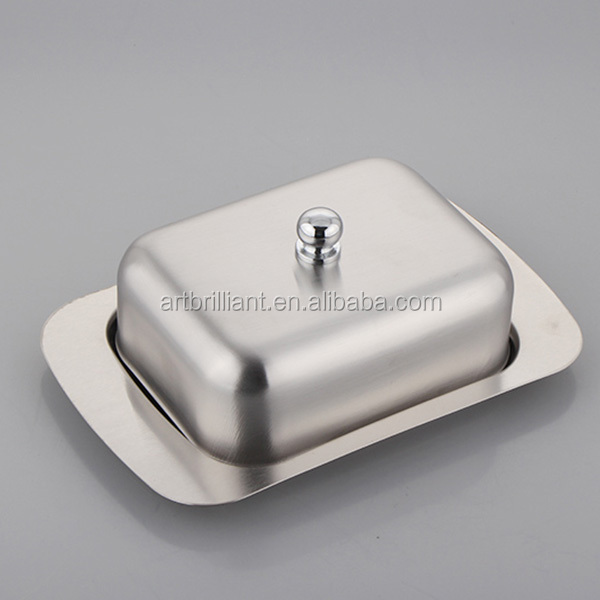 Food grade square stainless steel plastic butter containers