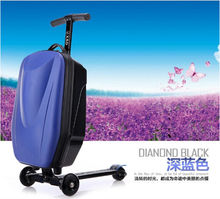 PC/EVA luggage abs hard scooter luggage with 3 wheels