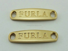 small engraving logo gold metal tags with two holes for stitching