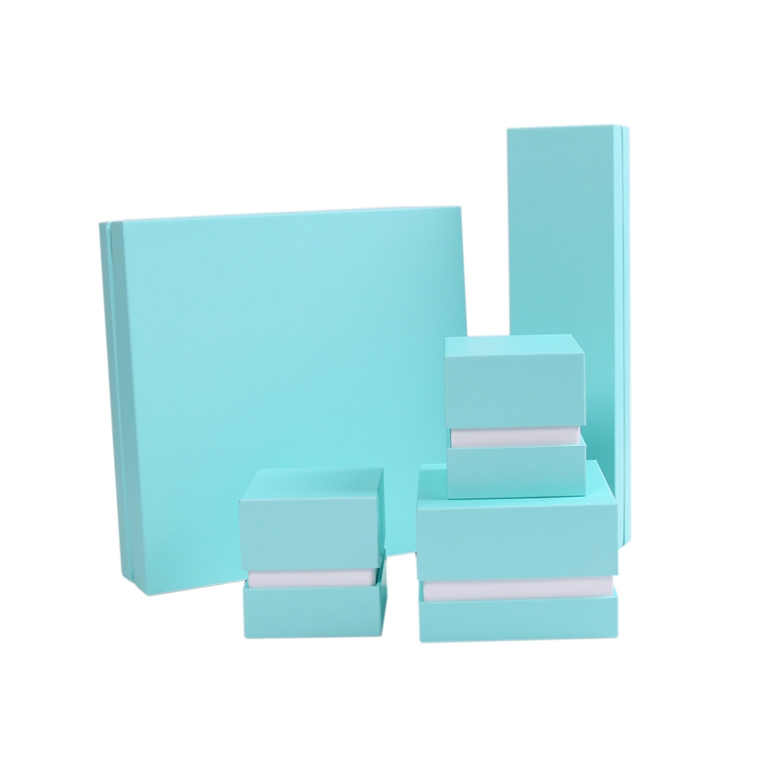 Factory oem light blue plain paper gift luxury jewellry boxes