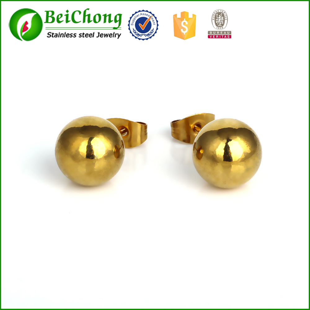 2015 Wholesale 14K Yellow Gold Ball Stud Earring 5mm Fashion Design Hot Sale Jewelry R5-0117