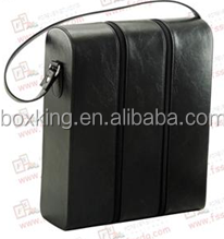 2015 black leather wine bag wine carrier