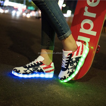 (Fashion) Hot sell cheap Unisex Women Men USB Charging LED Sport Shoes High Light Flashing Sneakers