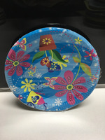 Disposable Flower printed paper plates and paper cups