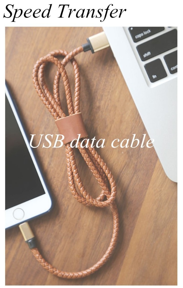 New premium products 2016 leather braided 2.1A USB data cable Charger for Phone