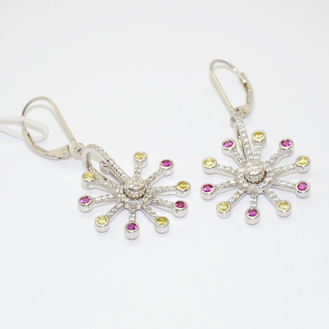 Latest China Fine Jewelery Revolving Fashion Earring Sterling Silver With Color Zirconia