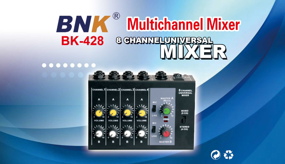 Professional 8-Channel Microphone Amplifier sound mixer BK428