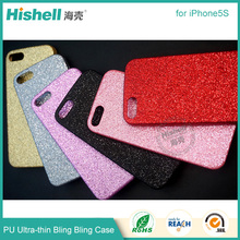 Fashion Phone Accessories Soft TPU PU Shining Bling Phone Case for iphone5