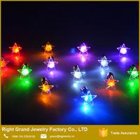 Fashion Stainless Steel Unisex Star Shape Light Up LED Bling Earrings
