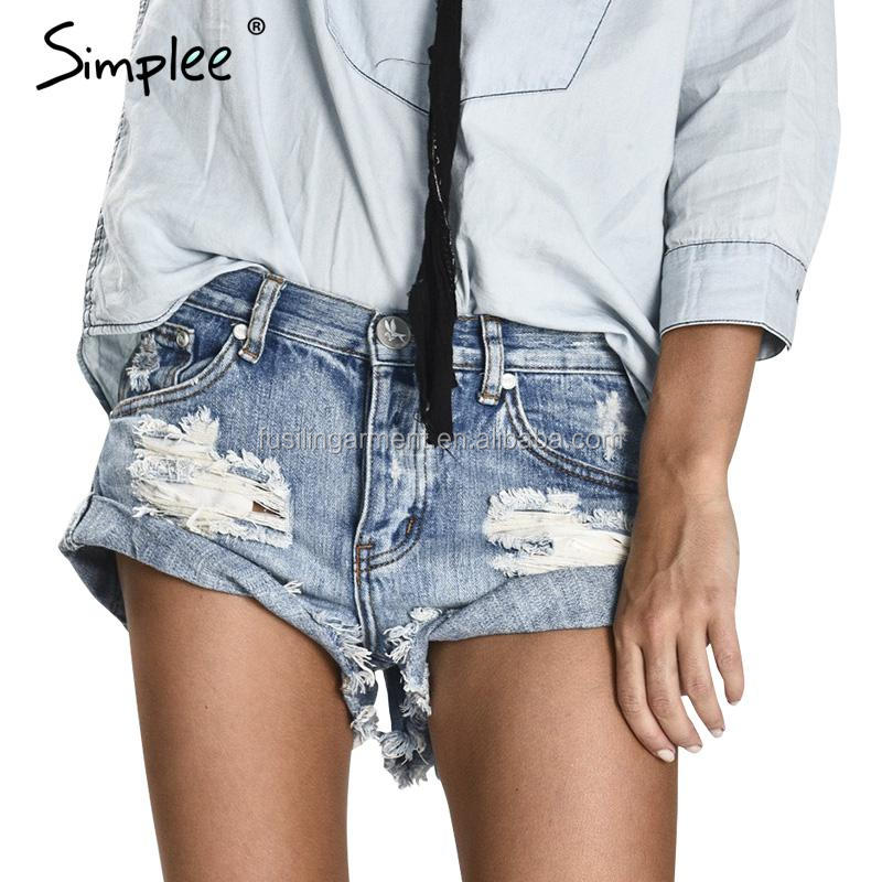 Simplee Apparel 50's Vintage ripped hole fringe blue denim shorts women Casual pocket jeans shorts 2017 summer girl hot shorts