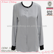 Ladies' fashion long sleeves polyester high quality pictures of sleeveless blouse