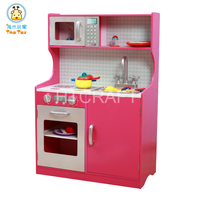 Role Play Interactive Wooden Play Kitchen With Plastic Accessories, Easy Assembly Woonden Kitchen Toy Set