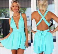 Wholesale Summer Beach rompers women jumpsuit chiffon sexy fashion sale black backless bodysuit sexy play suits female wear