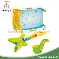 Funny plastic ABS raw material infant toy cartoon saxophone toy plastic baby electric guitar toys