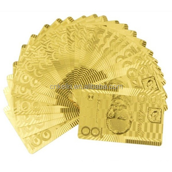 Best Selling Product 100 Aud Playing Card 24 Karat Gold Poker Cards