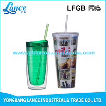 16OZ 20OZ PS/AS double wall hard plastic cup with lid and straw