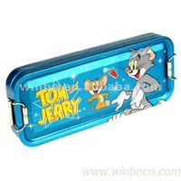 Tin cartoon students kids pencil case box with sliding button