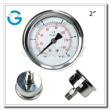 High quality bourdon tube back connection stainless steel 50mm oil pressure gauge