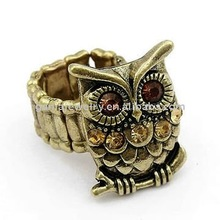 Cheap Animal Jewelry Stretch Band Ring with Alloy Owl Design