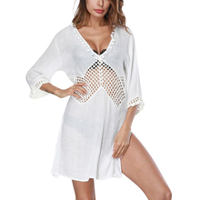 Bright White Sex Girls White Beach Dress Side Split Seamless